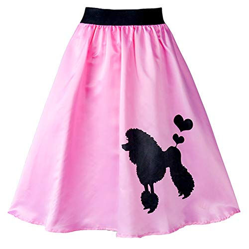 Fancyqube Women's Adult 1950s Poodle Skirt High Waist Vintage Party Cocktial Skirt (Pink, S)