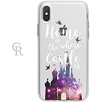 check out 32f62 b12fd Amazon.com: Clear Disney Castle iPhone X Case by Catching Rainbows ...
