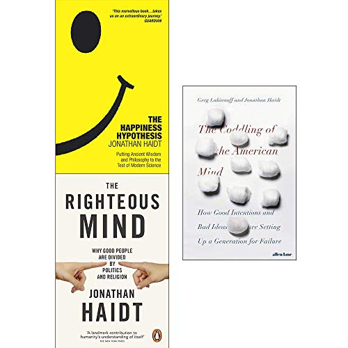 Jonathan haidt collection 3 books set (happiness hypothesis, the righteous mind, coddling of the american mind [hardcover])