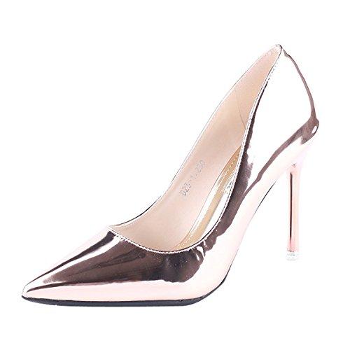KPHY Zapatos de Mujer/Puntiagudo 10 Cm De Tacones Altos Delgados Y Superficial La Moda De Verano Sexy Laca Solo Los Zapatos.Treinta Y Cuatro Golden