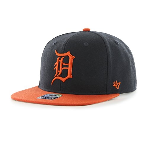 '47 MLB Detroit Tigers Sure Shot Two Tone Captain Wool Adjustable Hat, Navy, One Size