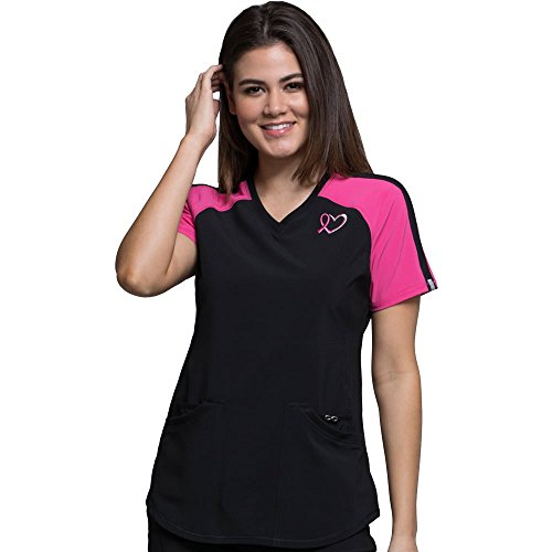 Pink Ribbon Scrub (Cherokee Infinity by Women's V-Neck Colorblock Solid Scrub Top Small Black)