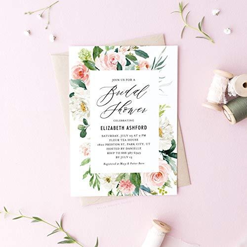 Dozili Floral Bridal Shower Invitation Romantic Watercolor Spring Florals Invite Bridal Shower Invitation
