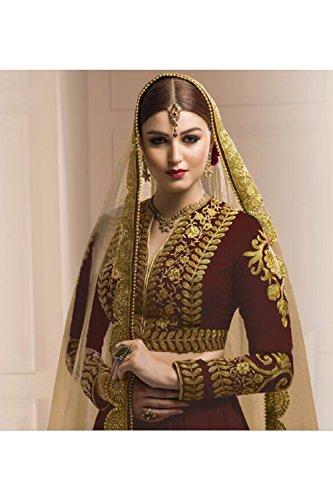 PCC Womens Silk Fabric Brown Pretty Circular Lehenga Style 80826