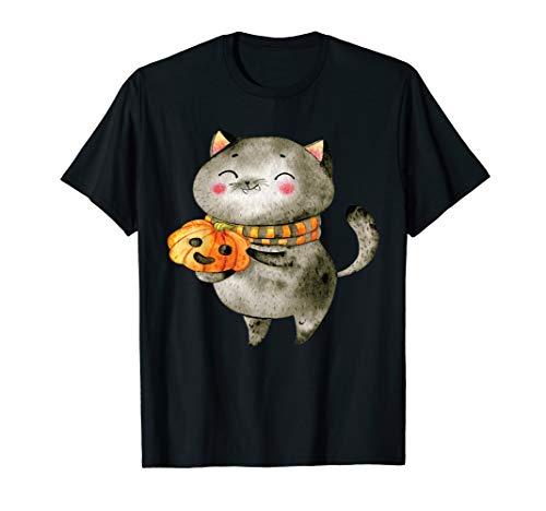 Cat Halloween Shirt Cat Costume Tee Pumpkin Jack-O-Lantern]()