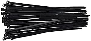 "8"" Plastic Cable Zip Ties 100-Pack (Black)"