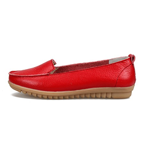 Binying Womens Casual In Pelle Morbida Rosso Flats Rosso