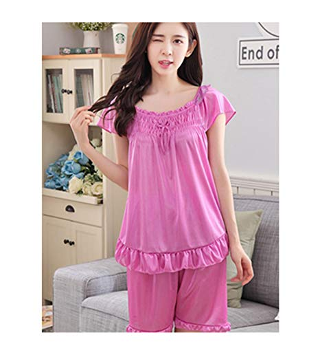 22824445e155 Silk Pajamas for Women Short Pajamas Sleepwear Summer Women s Pajamas Sets  Rayon Rose Pink2 One Size