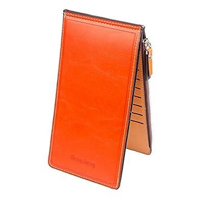 Noedy Womens Thin Multi Card Case Organizer Wallet with Zipper Pocket