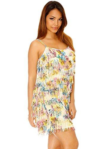 dmarkevous - Magnifique robe à frange coloré style charleston - M-L, jaune