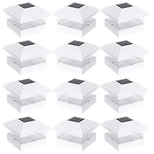 RELIGHTABLE 12 Pack Outdoor Garden 5 x 5 Solar LED Post Deck Cap Square Fence Light Landscape Lamp Lawn PVC Vinyl Wood (White)
