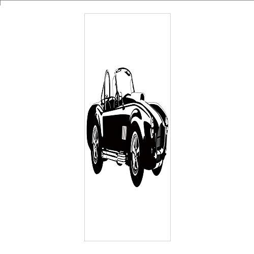 3D Decorative Film Privacy Window Film No Glue,Cars,Silhouette Classic Sport Car Ac Cobra Roadster American Antique Engine Autosport,Black White,for - Engine Fire Roadster