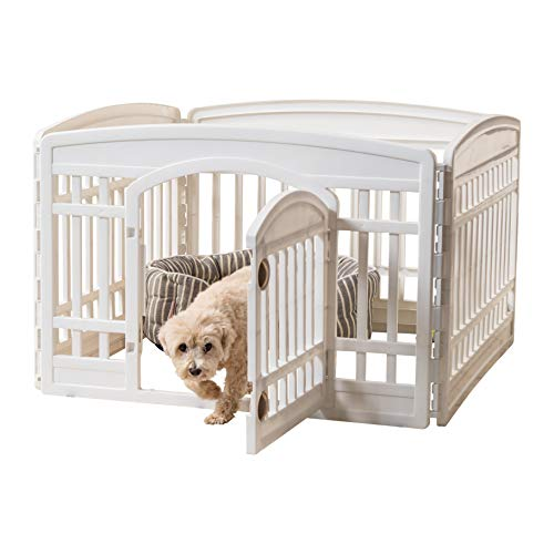 IRIS 24'' 4 Panel Exercise Pet Playpen with Door, White