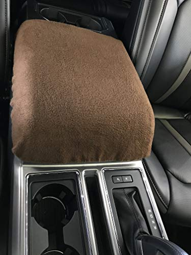 Car Console Covers Plus Fits 2011-2019 Ford F150 F250 F350 Fleece Center Armrest Cover for Center Console Lid, Your Console Should Match Photo Shown Made in USA