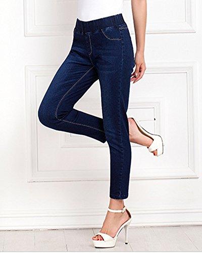 Pantalones Mujer Elástico Azul Jeans Skinny Pencil Slim Denim Vaqueros TxFZXwAxCq