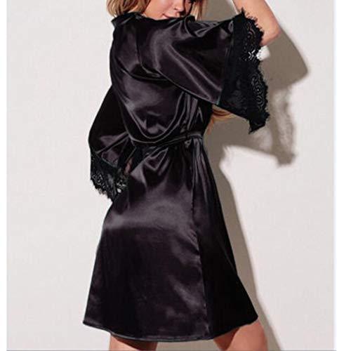 Ceinture ALISIAM Sexy Noir Lingerie vtements Nuisette Soie Kimono Robe Dentelle Femme Habiller Bain rrw8qRgU