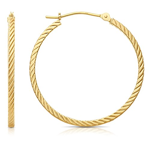 14k Yellow Gold Twisted Square Tube Hoop Earrings (30mm - 1.2'') ()