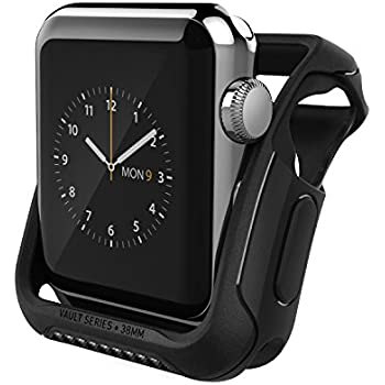 Apple Watch Series 2 Case 38mm, Caseology [Vault Series] Rugged Protective Slim Shock Resistant TPU Bumper for Apple Watch Series 2 38mm (2016) Only - Matte Black
