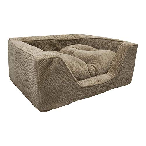 Snoozer Pet Products – Luxury Square Dog Bed Microsuede – Show Dog Collection   Large – Piston Sand