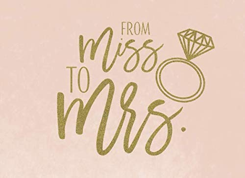 From Miss To Mrs: Cute Ring Pink Blush and Gold Bridal Shower Guest Book And Gift Log