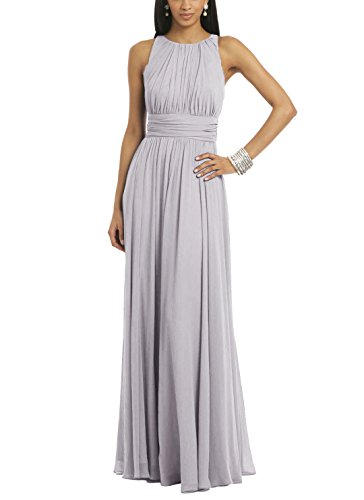 Ssyiz Women's Elegant Pleated Chiffon Floor Length Evening Party Dress Gray XX-Large