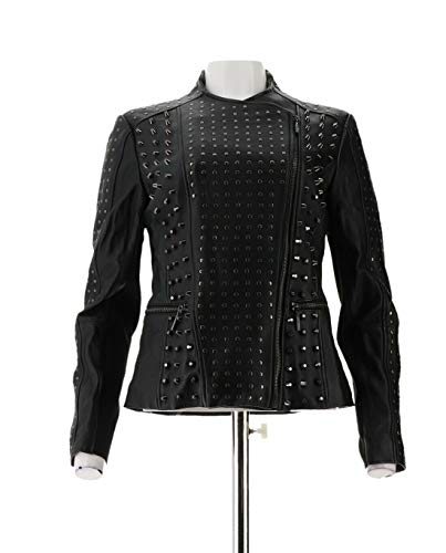H Halston Lamb Leather Studded Motorcycle Jacket Black 12 New A295238