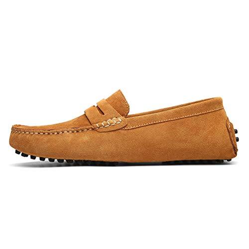 Pisos Mocasines Verano Zapatos Casuales Claro Primavera Hombres Marrón Transpirable Cuero Masculinos nwCq40WWt