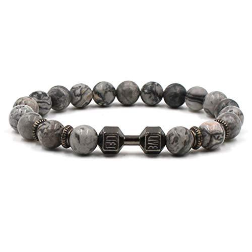 (Stylish Dumbbell Roman Knight Spartan Warrior Gladiator Helmet Bracelet Men Lava Stone Bead Bracelets(Silver Plated))