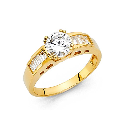 (Round Solitaire CZ Engagement Ring 14k Yellow Gold Anniversary CZ Ring Baguette Side Stones Size 5.5)