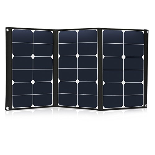 60 Watt Portable Solar Panel Charger Foldable Sunpower 18V 12V Solar Charger with MC4 Connector and Dual-port Output (USB 5V + DC 18V) for Hiking, Camping, Solar Generator, RV, Boat -