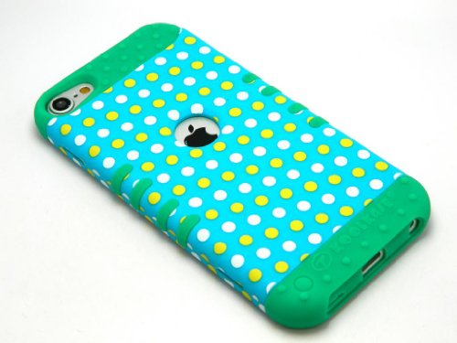 CellPhone Trendz Hybrid 2 in 1 Case Hard Cover Faceplate Skin Teal Silicone and Yellow White Blue Light Polka Dots Snap Protector for Apple iPod iTouch 5 (5th Generation)