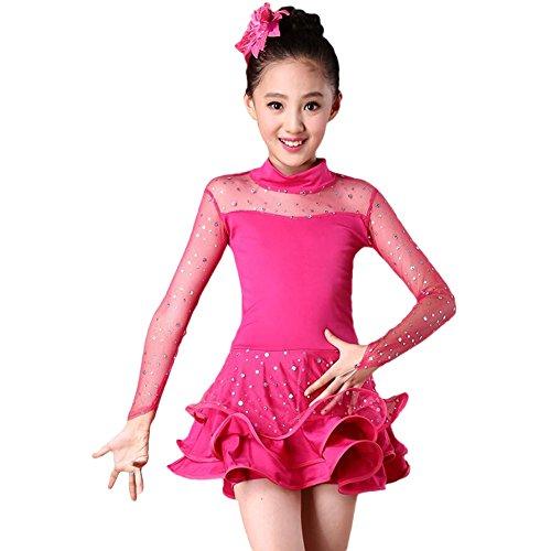 Girls Sequin Dance Costume Latin Rumba Dance Dress Spandex Ballroom Dancewear (Rose red, -