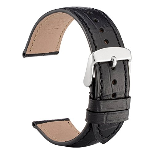 WOCCI 20mm Alligator Embossed Leather Watch Band,Black Replacement Strap for Men Women