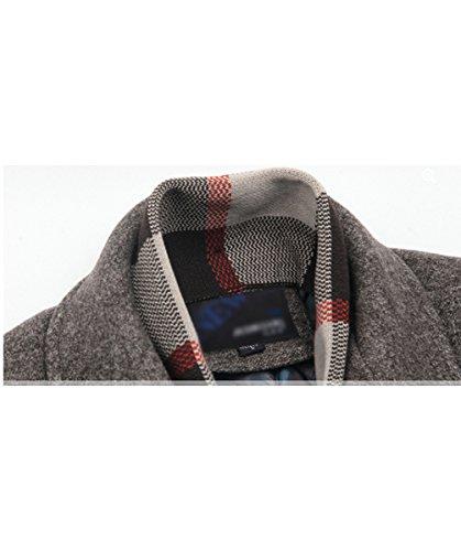 de Invierno Business de Lana Chaqueta los Abrigo Lana Slim de Abrigo MOGU Hombres de Fit Marrón 54pg56q