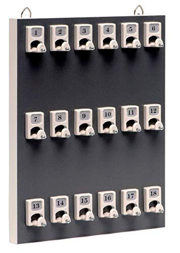 Key Rack, Key Stand # 18PGS with 18 Numbered Hooks for Small Businesses or Residential (18 Set of Tag & Ring Included)