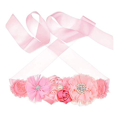 Maternity Sash Belt with Flower Bridal Rhinestone Belt for Women Wedding,Pregnant Baby Shower Party Photoshoot (Pink2)