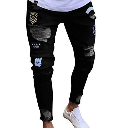 Estivi Stampa Distrutti Lavati Casual Nero Anaisy Giovane Pantaloni Collage Da Jeans Uomo Mendicanti qwxpU5C