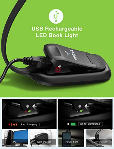 LED Reading Light, TopElek Rechargeable Book Light, 3-Level Brightness (Cool and Warm) and Flexible Easy Clip On Reading Lamp, Eye Protection Brightness, Soft Table Light for Night Reading, Kindle by TOPELEK (Image #4)