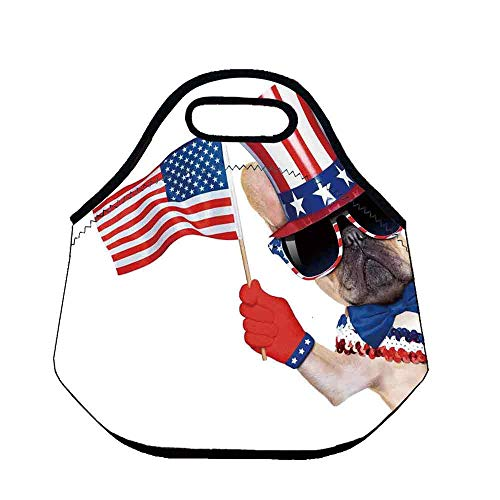 4th of July Decor Wear Resisting Neoprene Lunch Bag,Proud to be American Emblem Label Seal Inspirational Homeland Love Design for Picnic Beach Office,Throw(11.8''L x 6.3''W x 11''H)