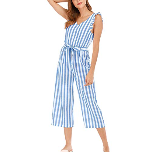 Women's Elegant Sleeveless Deep V-Neck Ruffle Swing Jumpsuits Rompers Strip Print Belted Wide Leg Palazzo Cropped Pants Lightweight Breathable Summer Lounge Loose Playsuit