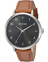 Nixon Womens Arrow Quartz Metal and Leather Watch, Color:Brown (Model: A1091019-00)