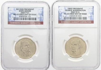 5 Coin Set All 2007 P George Washington Presidential Golden Dollar BU Gold $1