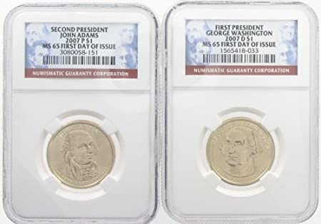 2007 P /& D 1st President George Washington MS65 First Day of Issue 2-Coin Set