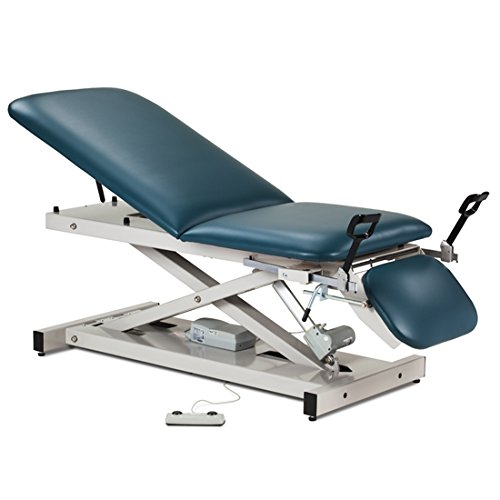 "76"" x 27"" x 18""-35"" Slate Blue Open Base Power Table with Adjustable Backrest, Footrest & Stirrups - CL-80360"