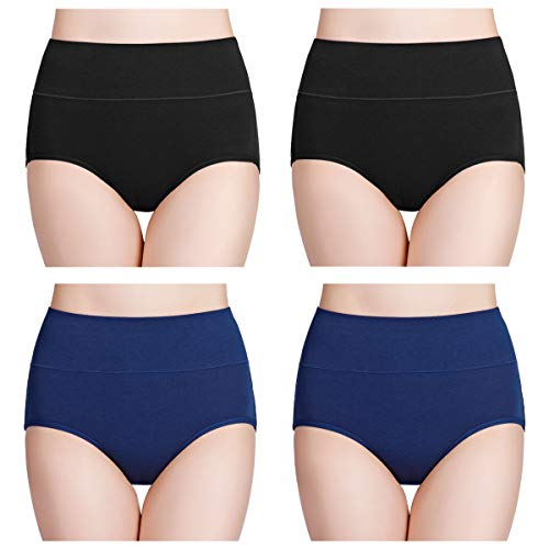 wirarpa Women's 4 Pack Cotton Underwear High Waisted Full Coverage Brief Panties Ladies Comfortable Underpants Black Navy Blue, Size 10