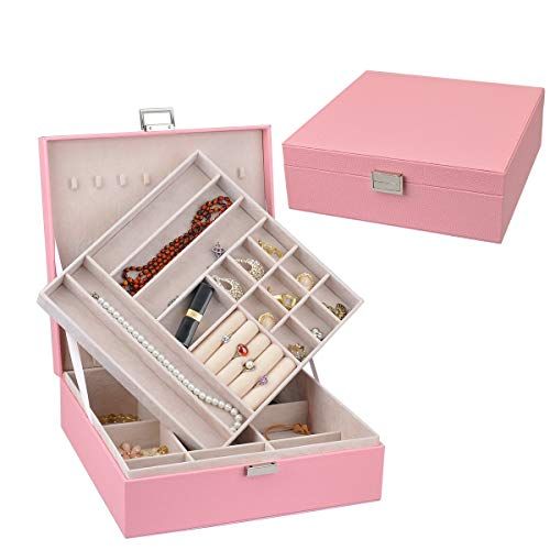 Lavie 2-layer 27 Section Square-shaped Jewelry Box Faux Leather Jewelry Organizer Storage Case Jewelry Display Box with Lock for Earrings, Necklaces Women/ Girl's Gifts (Pink) ()
