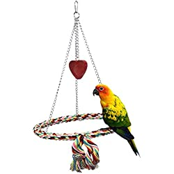 Onemore choice Bird Toys,Flying Trapeze Multi-Color Cotton Swings Budgie Toys Bird Swings for Parrot(Circular)