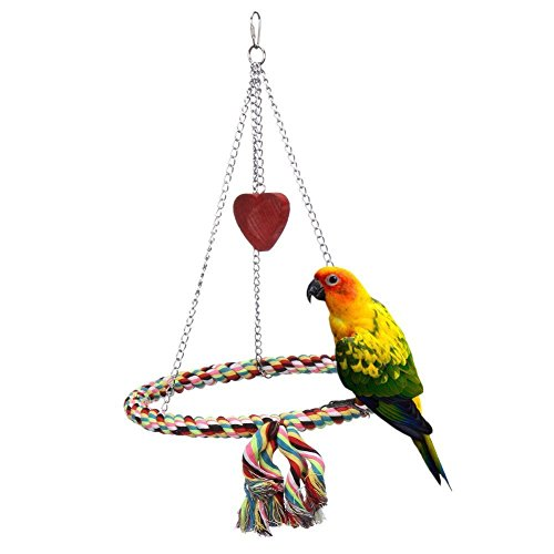 (Onemore choice Bird Toys,Flying Trapeze Multi-Color Cotton Swings Budgie Toys Bird Swings for Parrot(Circular))