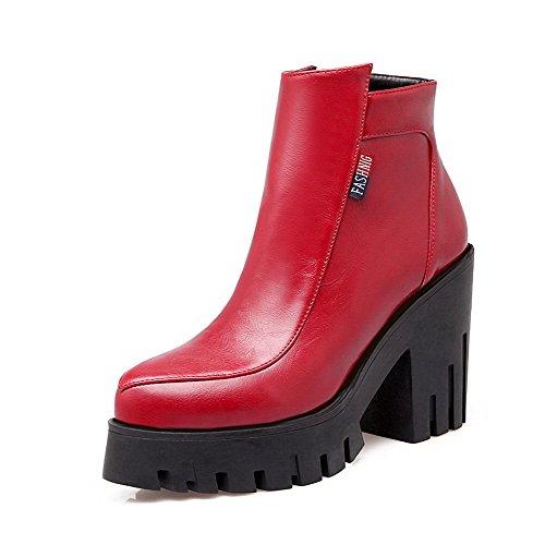 Amoonyfashion Womens Tacchi Alti Con Cerniera Pu Solidi Stivali Alti Alla Caviglia Rosso