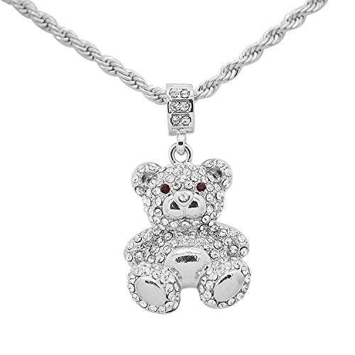 White Gold-Tone Hip Hop Bling Pave Stones Teddy Bear Pendant with 24